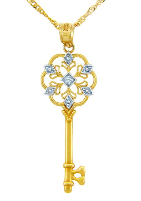 Valentines Special Heart Diamonds - Two Tone Gold Key with Diamond (w Chain)