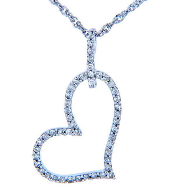 Valentines Special Heart Diamonds - 14K White Gold Drop Heart Pendant with Diamonds (w Chain)