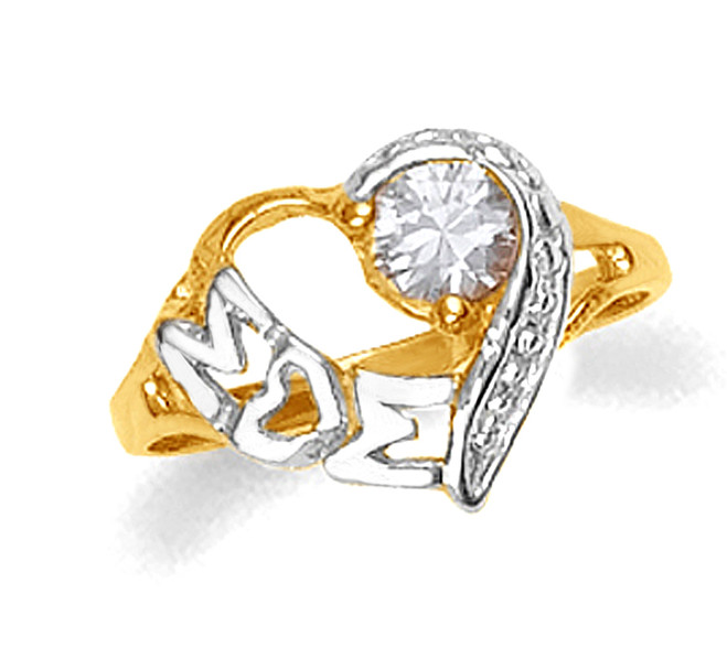 Yellow and White Gold Mom Heart CZ Ring
