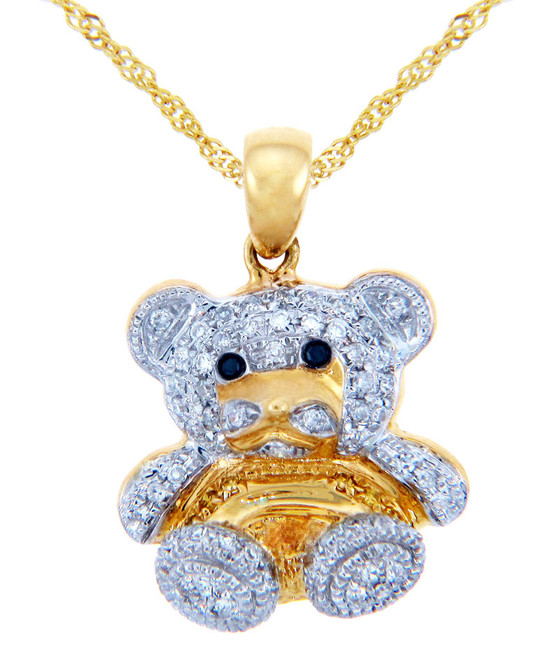 Valentines Special Heart Diamonds - Gold Teddy Bear Pendant with Diamonds (w Chain)