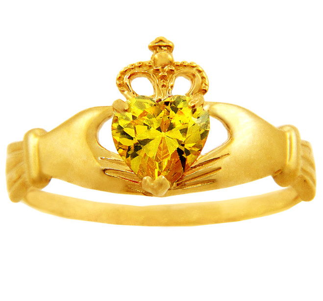 Citrine CZ November birthstone Claddagh ring in 10k or 14k yellow gold.
