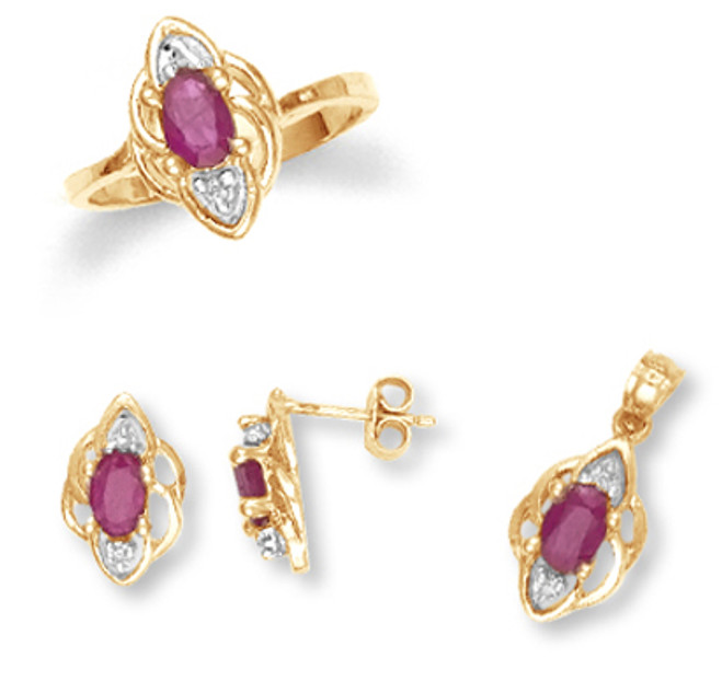 Yellow Gold Ruby Diamond Set