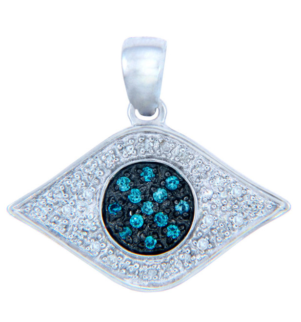 Diamond Pendants - Gold Evil Eye Pendant with Blue Diamonds