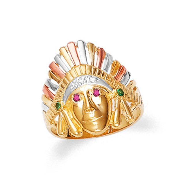 Gold Indian Tri-Color Men's Ring