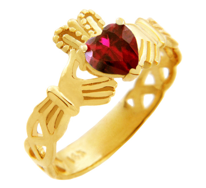 Gold Claddagh Trinity Band with Garnet Red CZ Heart