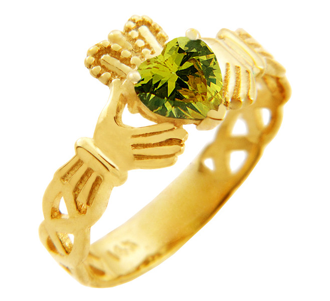 Gold Claddagh Trinity Band with Peridot Green CZ Heart