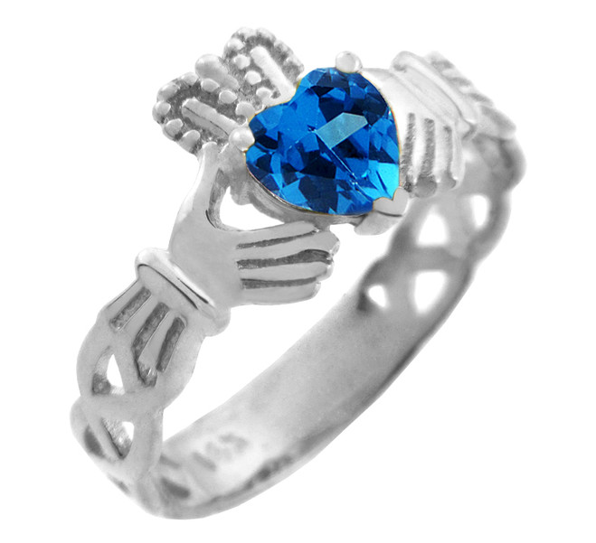 White Gold Claddagh Trinity Band with Blue CZ Heart