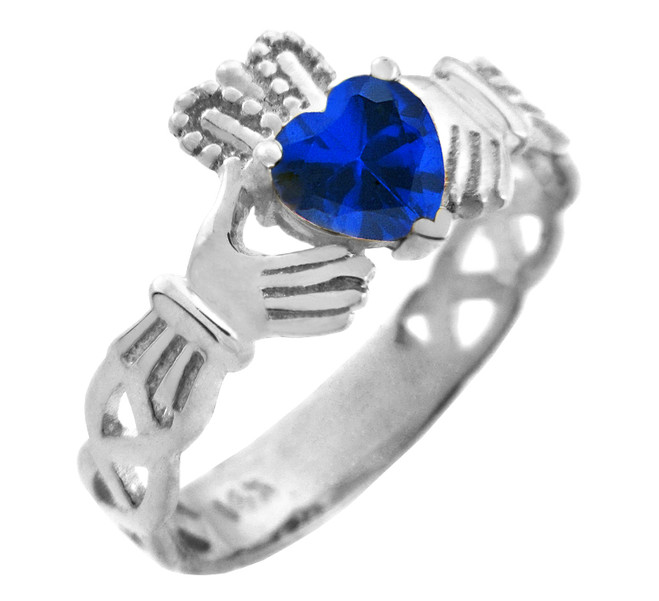 White Gold Claddagh Trinity Band with Sapphire Blue CZ Heart