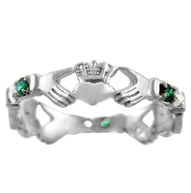 Solid White Gold Claddagh Ring with Green and Clear Cubic Zirconias