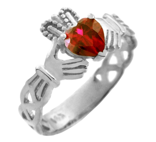 Silver Claddagh Trinity Band with Ruby Red  CZ Heart