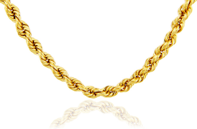 Gold Chains: Rope Ultra Light Diamond Cut 10K Gold Chain 4 mm