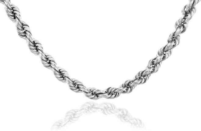 White Gold Chains: Rope Ultra Light Diamond Cut 10K Gold Chain 4 mm