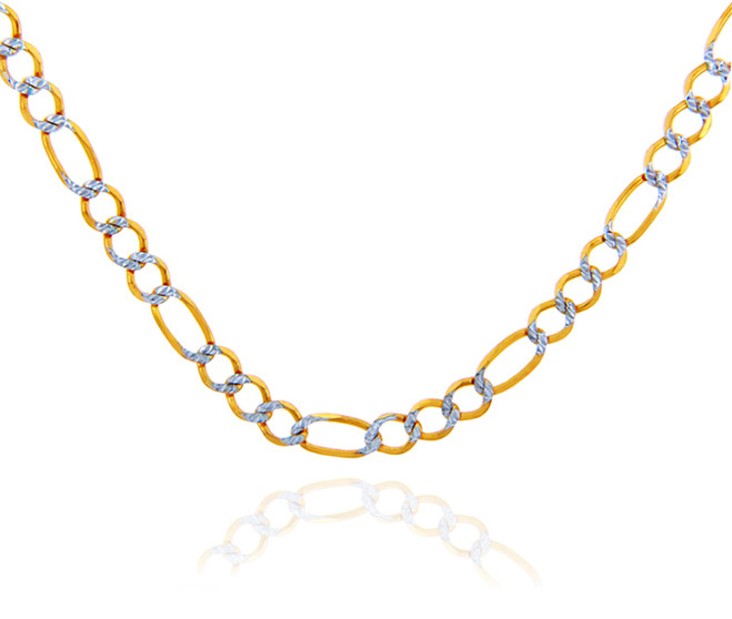 Gold Chains: Figaro Pave Two-Tone 10K Gold Chain 2.7 mm