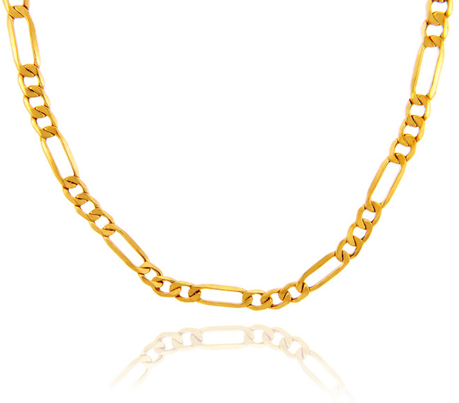 Gold Chains: Hollow Figaro 10K Gold Chain 4.92mm