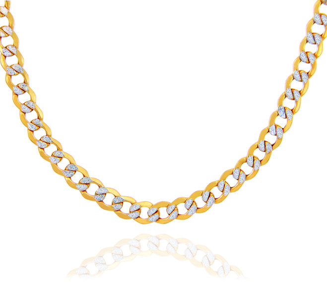 Gold Chains: Hollow Cuban Pave 10K Gold Chain 6.18mm