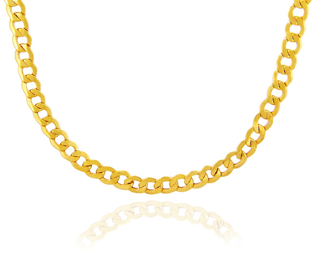 Gold Chains: Hollow Cuban 10K Gold Chain 8.04mm