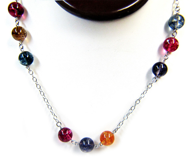 Gemstone Necklaces - Impulse Multi-Colored Tourmaline Quartz Long Necklace in Sterling Silver 40 Inch