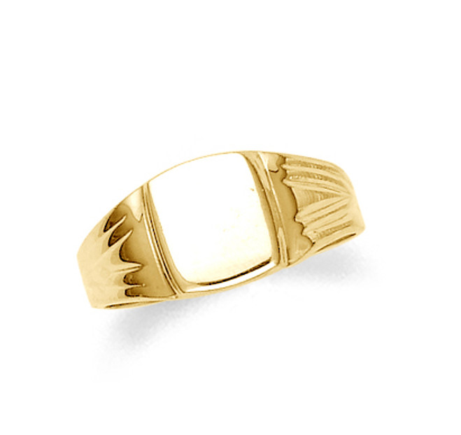 Gold Square Signet Mens Ring