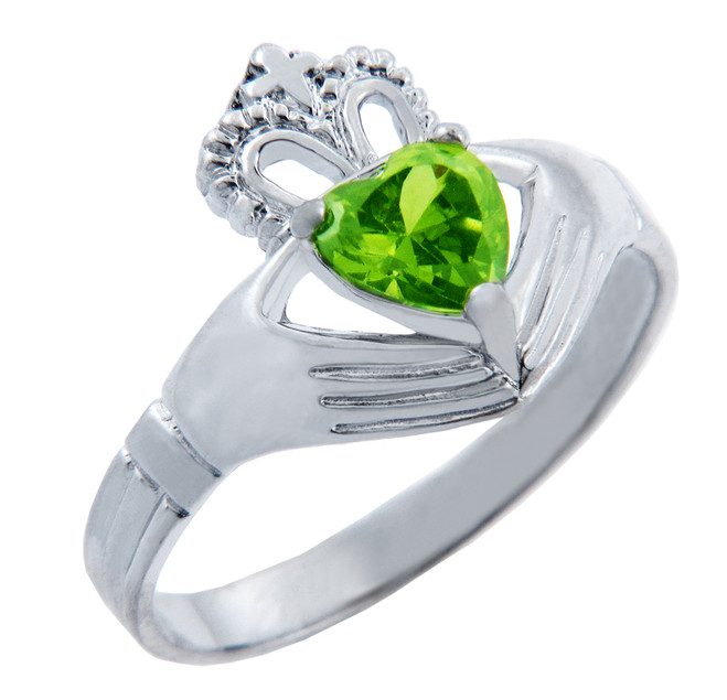 Silver Claddagh Band with Peridot CZ Heart