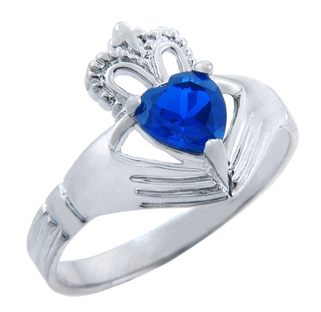 Silver Claddagh Band with Sapphire CZ Heart