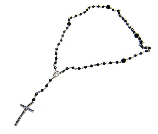 Sterling Silver Black Onyx Crucifix Rosary Beaded Necklace 20 Inch