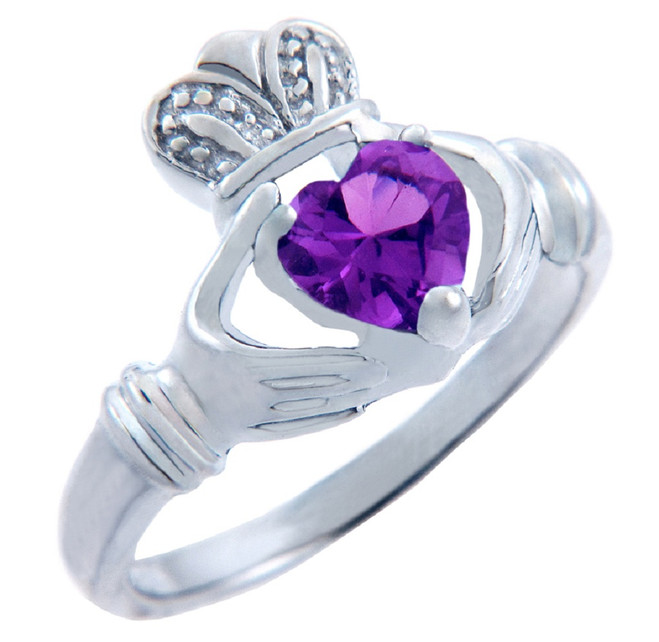 Silver Claddagh Ring with Amethyst CZ Heart