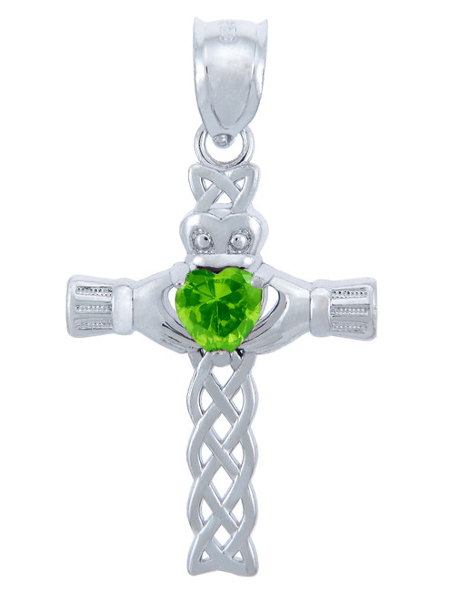 Silver Celtic Cross Pendant with Peridot CZ Heart