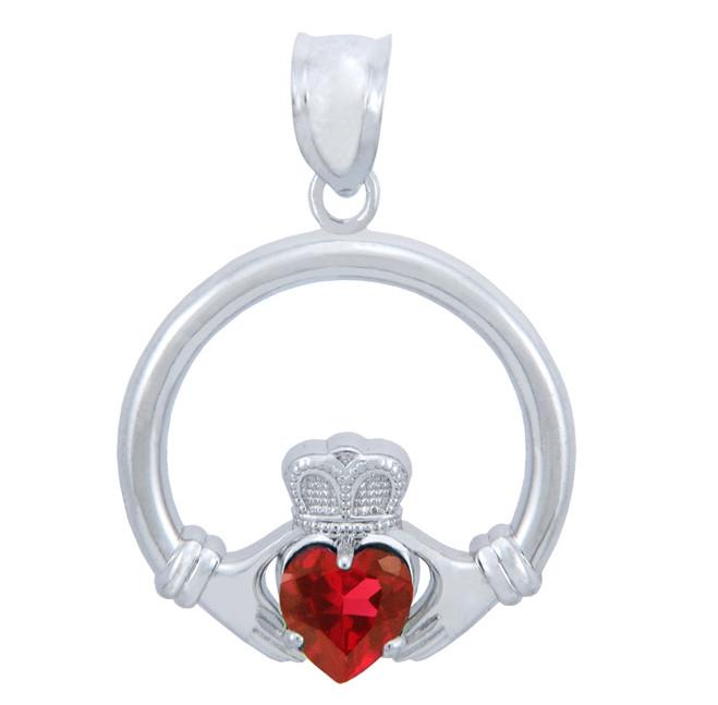Silver Claddagh Garnet CZ Heart Pendant (M)