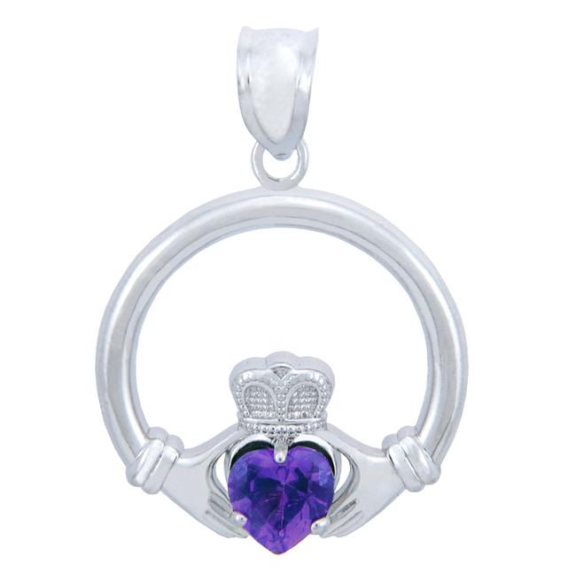 Silver Claddagh Amethyst CZ Heart Pendant (M)