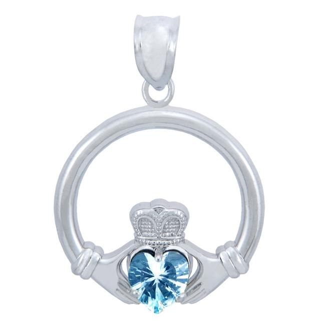Silver Claddagh Aquamarine CZ Heart Pendant (M)