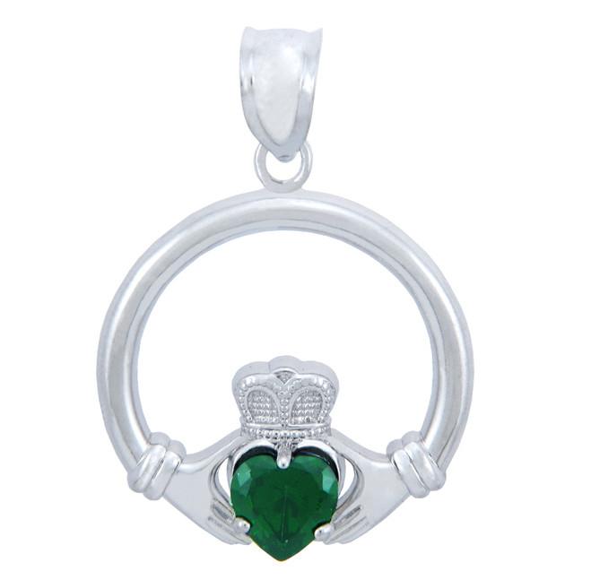 Silver Claddagh Emerald CZ Heart Charm Pendant (S)