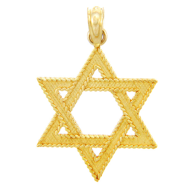 Jewish Gold Pendants - Star of David Yellow Gold Pendant
