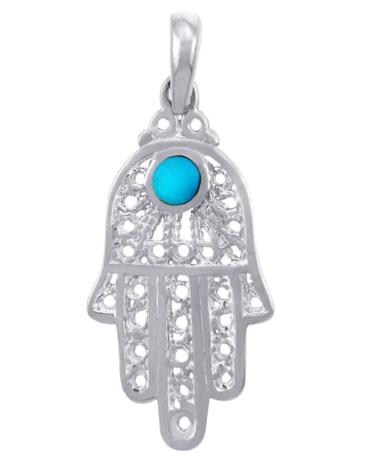 Jewish Charms and Pendants - Silver Turquoise Filigree Hamsa Pendant