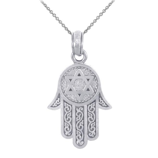 925 Sterling Silver Jewish Chamesh Hamsa Charm Pendant Necklace