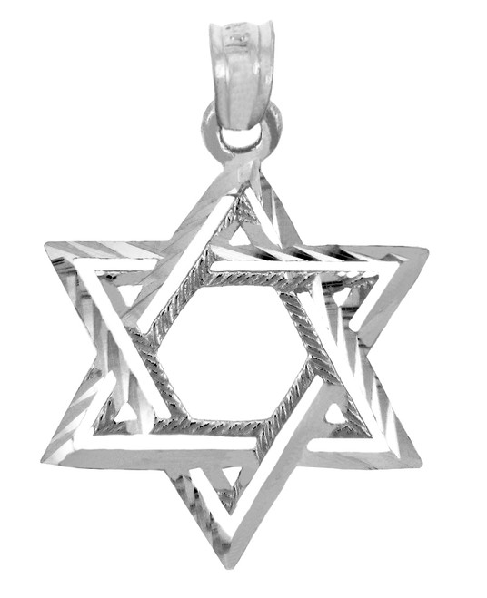 Jewish Charms and Pendants - White Gold Double Star of David