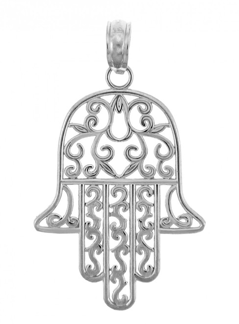Jewish Charms and Pendants - 14K White Gold Hamesh Hand Charm