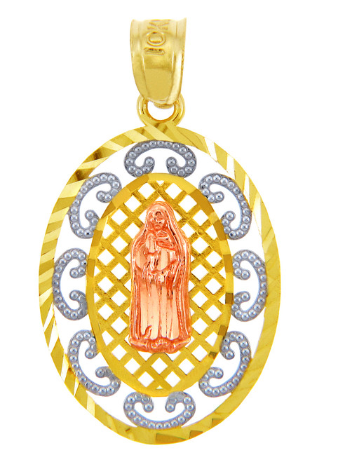 Gold Pendants - Guadalupe Three Tone Gold Pendant