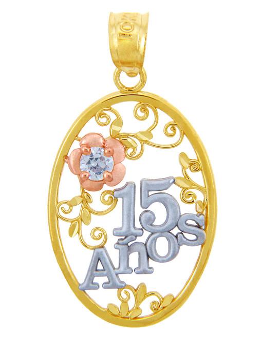 Gold Pendants - Sweet 15 Años- Quinceanera Pendant Flower in Cubic Zirconia