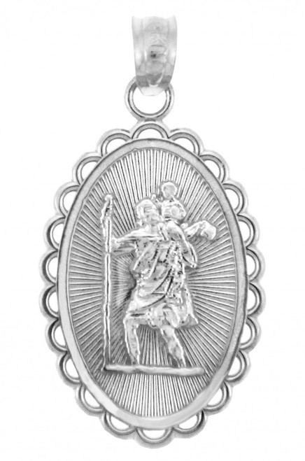 Saint Christopher White Gold Charm Pendant