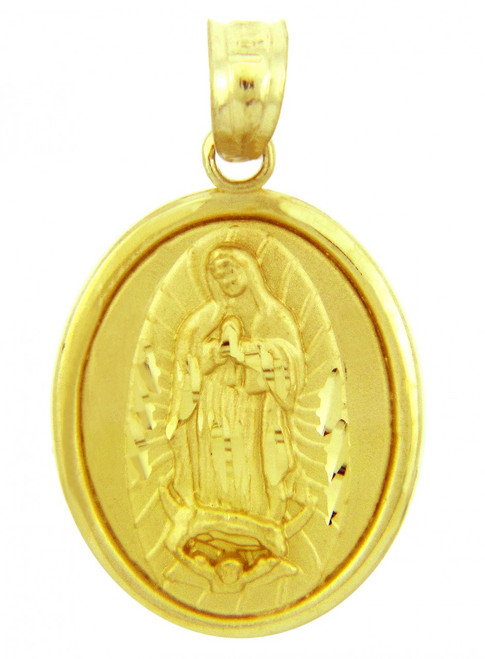 Religious Charms - The Blessed Virgin Mary Yellow Gold Pendant