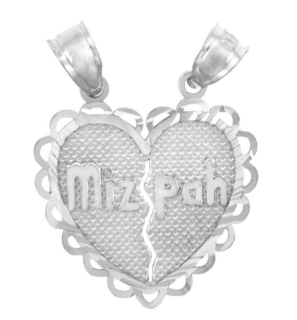 Jewish Charms and Pendants -  White Gold Mizpah Jewish Pendant