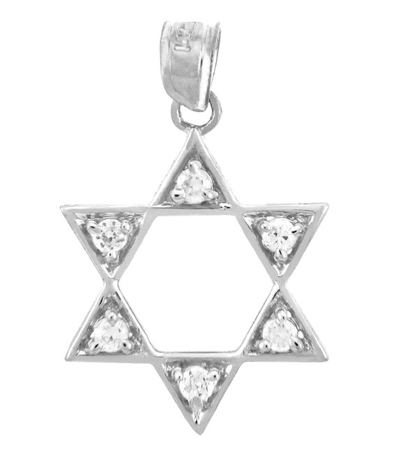 Jewish Charms and Pendants - White Gold Gleaming Star of David in Cubic Zirconia Pendant