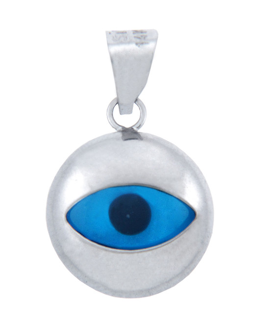 14K White Gold Bright Blue Evil Eye