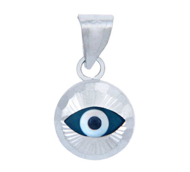 Bright Blue Glass Evil Eye in 14K White Gold