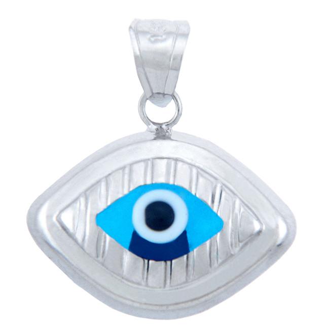 Bright Blue Evil Eye in 14K White Gold