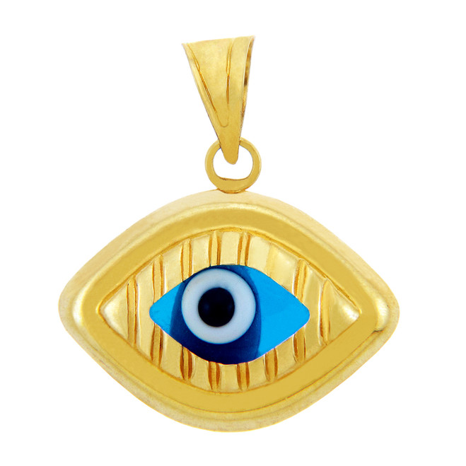 14K Yellow Gold Bright Blue Evil Eye