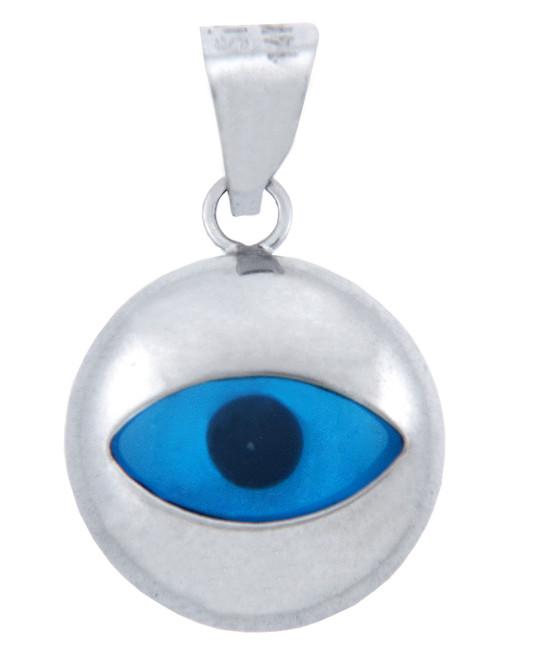 Bright Glass Evil Eye in 14K White Gold