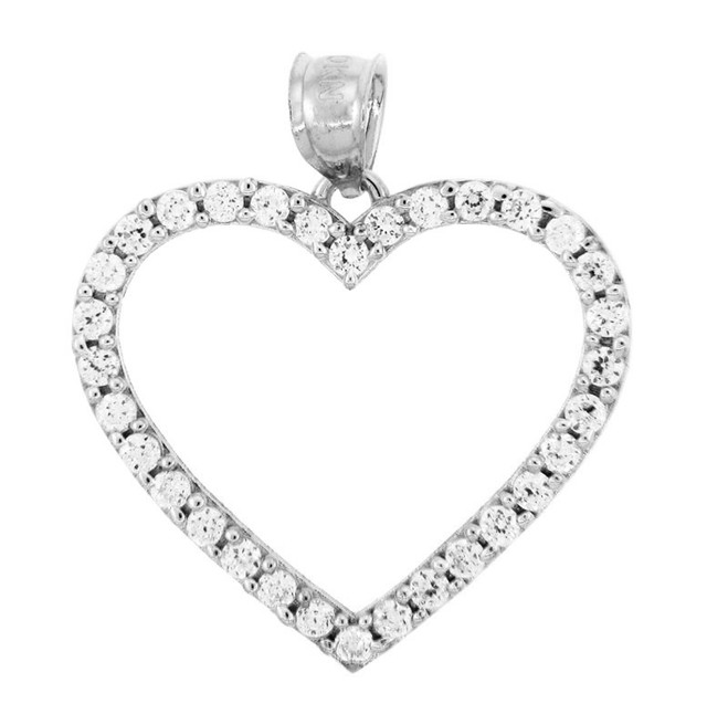 Cubic Zirconias Silver Heart Pendant II