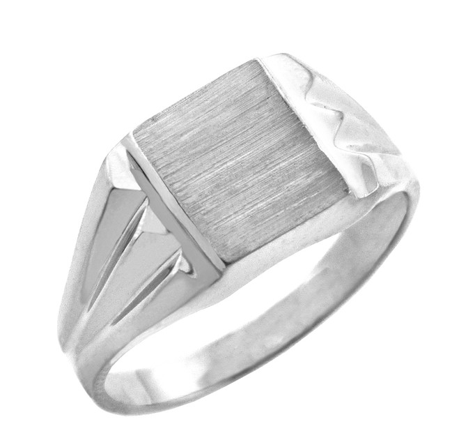 The Frank Solid White Gold Signet Ring