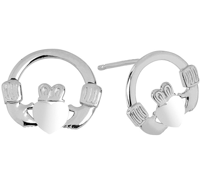 Sterling Silver Bold Claddagh Earring